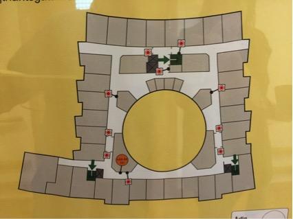 Plano de la residencia donde destaca su patio circular