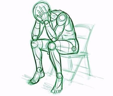 Dibujo artístico de una persona en un momento de agitación