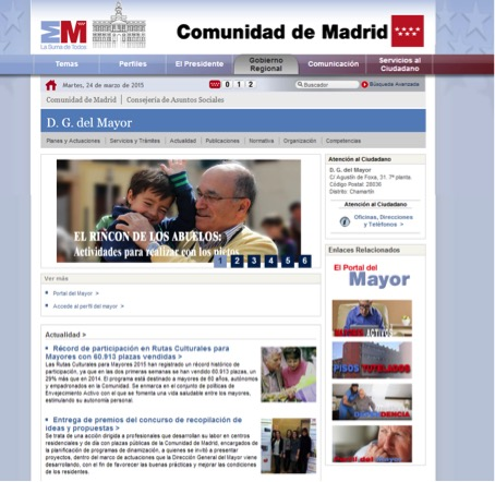 Web de la dirección general del mayor en Madrid